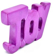 Vaneal Group Hand Carved Soapstone Fuchsia Pink JOY Free-Standing Word Sign image 5