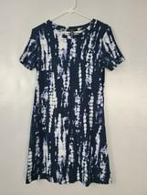 Ellen Tracy Womens T Shirt Dress Size Medium Blue Tie Dye Short Sleeve C... - $23.99