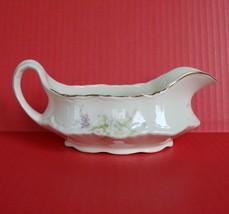 Vintage Homer Laughlin China Republic Pink Roses Gold Trim Gravy Boat Sa... - $21.74