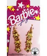 3x THREE NEW Barbie for Girls Gold Star Dangle Earrings Rubie's / Mattel... - $12.10