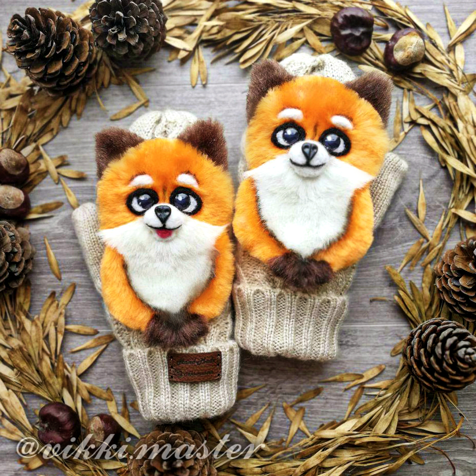 mittens with fox