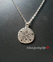 Sterling Silver Sand Dollar Necklace Silver Sand Dollar Charm Necklace S... - $28.00+