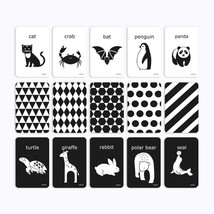 PicoHemmo Flash Cards Black and White for Infants, 15 Cards Animal Lette... - $24.14