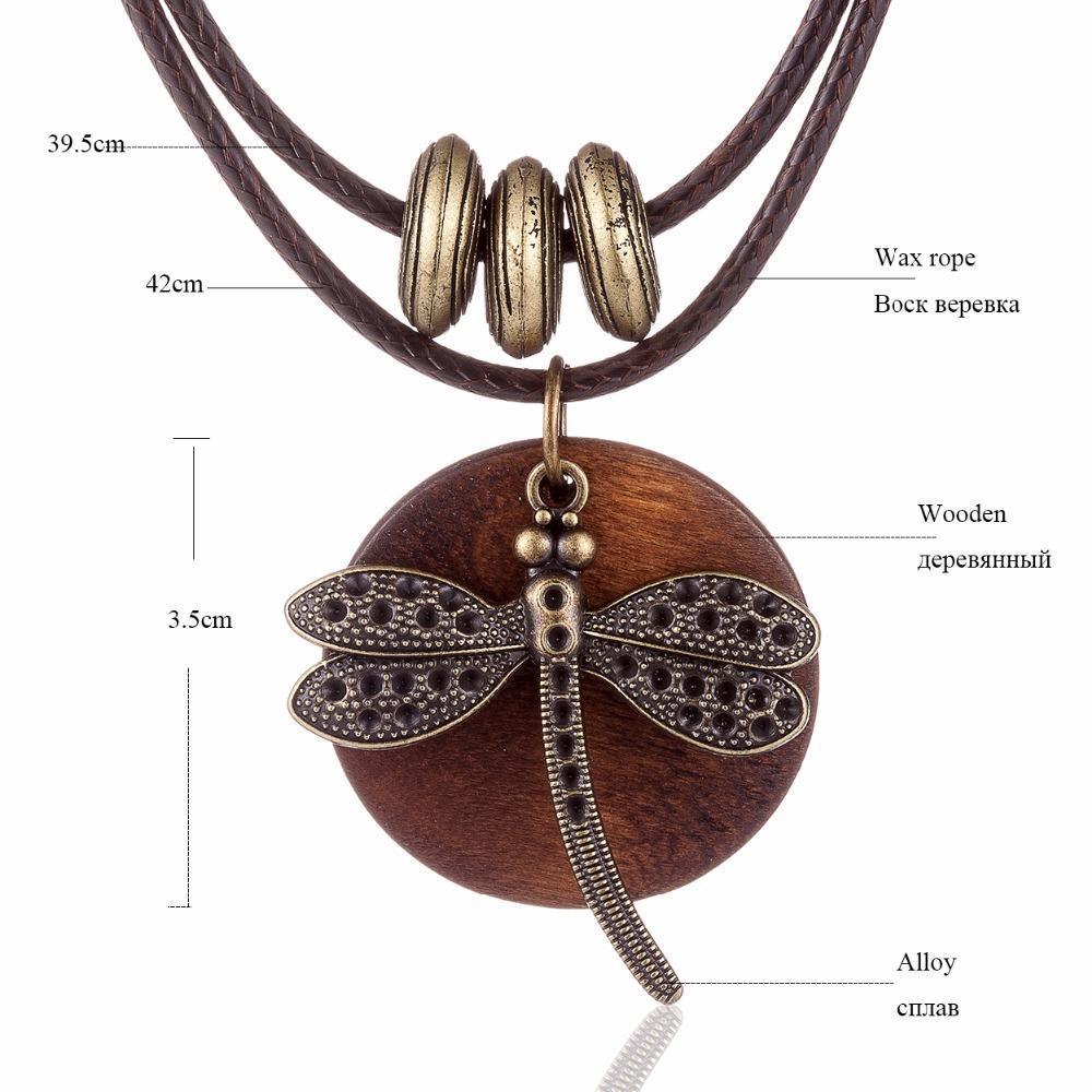 COOSTUFF Vintage Dragonfly Wooden Handmade Necklace / Pendant - Ladies / Women's image 3