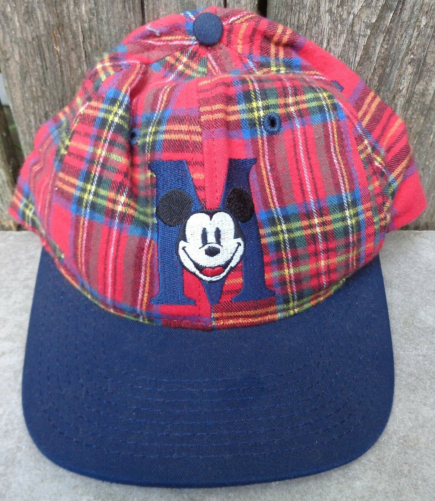 Primary image for Vintage Mickey Mouse Plaid Snapback Hat Baseball Cap Disney Made in USA