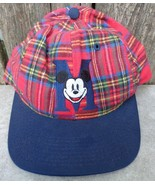 Vintage Mickey Mouse Plaid Snapback Hat Baseball Cap Disney Made in USA - $15.00