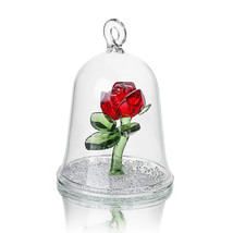 Crystal Beauty Enchanted Red Rose Glass Sculpture in Glass  Figurine  - $26.99
