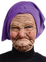 Granny Mask Old Woman Grandma Wrinkled Purple Scarf Grumpy Halloween MR1... - $33.99