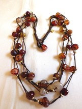 COOKIE LEE Calcedony Stone Beads Multi layer cords Cascade Boho Beaded Necklace - $29.70