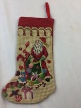 "Small Vintage Needlepoint Christmas Santa Hanging Stocking 12"" - $23.36"