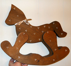 WOOD ROCKING HORSE 15 inch 3D LARGE DECORATIVE Wooden Home Nursery Decor  - $19.75