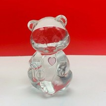 Fenton glass teddy bear figurine birthday stone sculpture pink heart dep... - $28.89