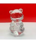 Fenton glass teddy bear figurine birthday stone sculpture pink heart dep... - $28.89