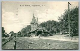 Englewood NJ~Railroad Station~Train Depot~Crowded Platform~Houses~Natura... - $29.89