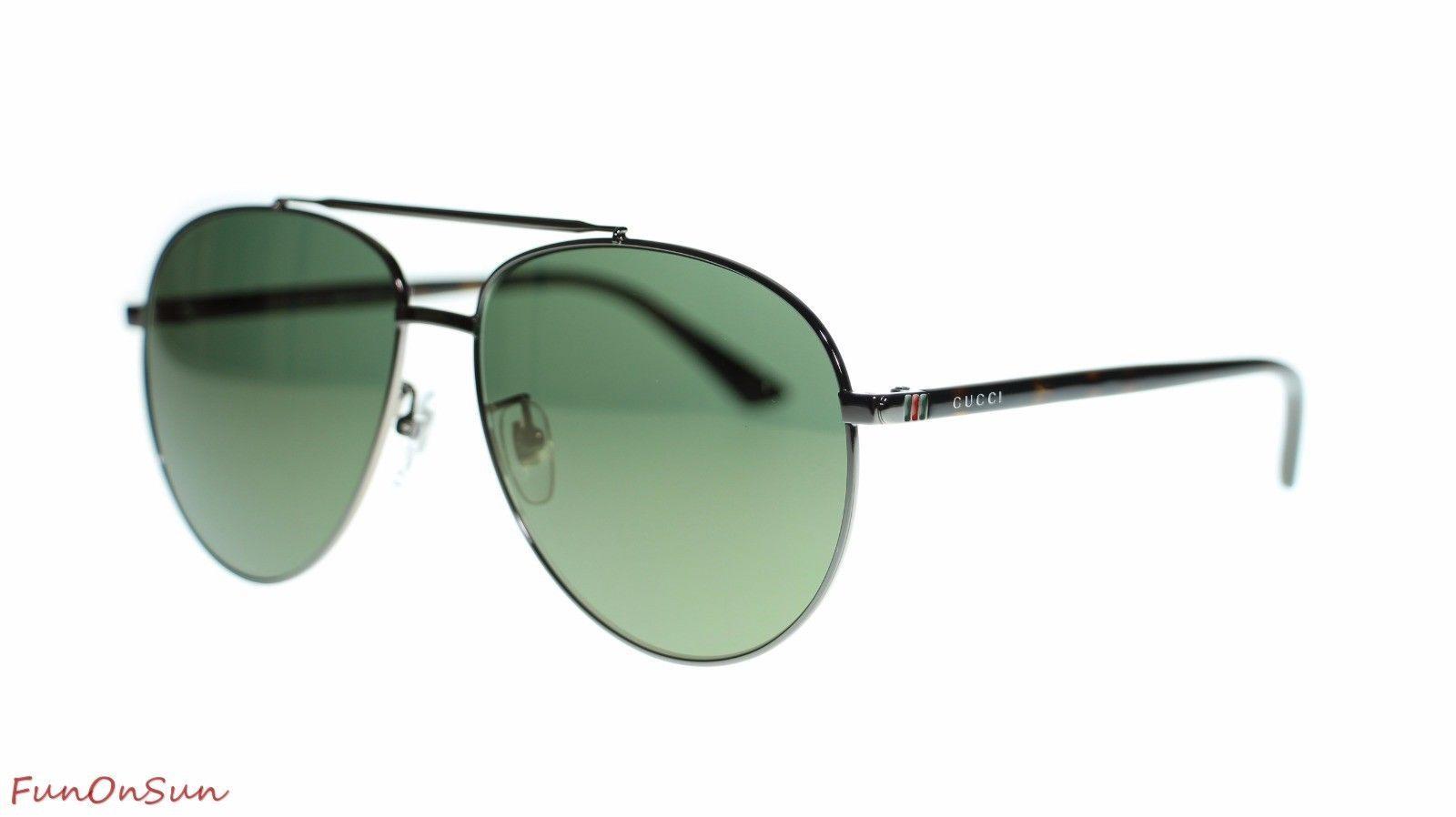 21320b6949 S l1600. S l1600. Previous. Gucci Mens Aviator Sunglasses GG0043SA 003  Ruthenium Havana Gold Lens 61mm