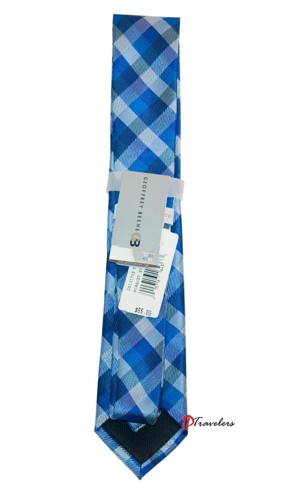 Geoffrey Beene Men's Neck Tie Slim Dark Blue and White Checkered 100% Polyester image 2