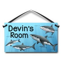 """Sharks, Great White, Kids Door Sign, 5.5"""" x 10.5"""", Personalized Plaque - $13.00"""