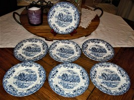 7pc Johnson Brothers Blue Coaching Scenes Ironstone Hunting Country Dese... - $44.54