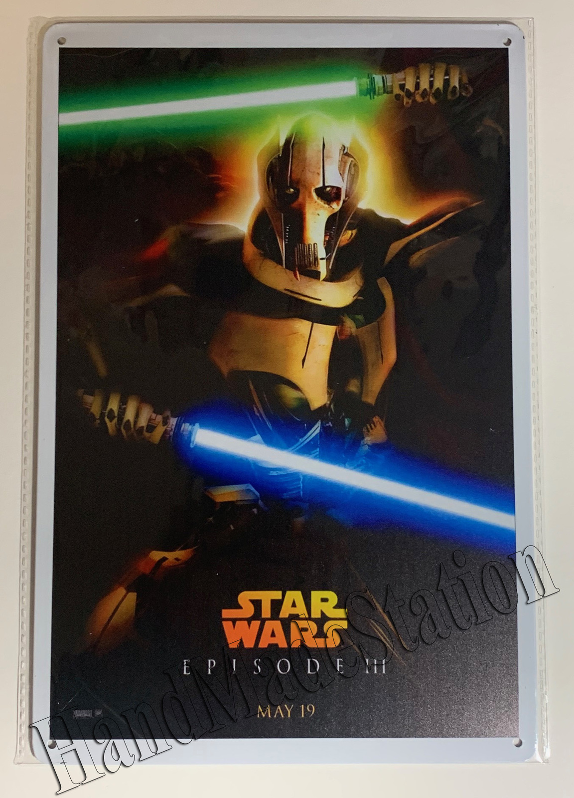 "Star Wars Episode 3 General Grievous Wall Metal Sign plate Home decor 11.75"" x 7"