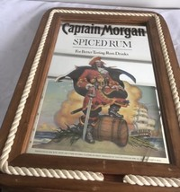 Vintage  Captain Morgan Spiced Rum Mirror Sign Rope Edging Wood Frame Wa... - $54.45