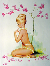 VINTAGE PIN-UP POSTER TOPLESS NUDE DAISY FLOWER GIRL PHOTO SEXY 2-SIDED ... - $9.74