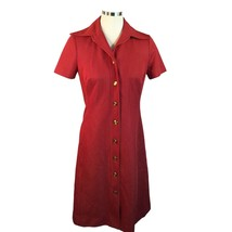 Vtg Red Polyester White Polka Dot Wide Collar Shirt Dress Button Front S - $39.11