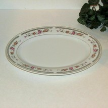OVAL SERVING PLATTER STURDY PORCELAIN PINK WHITE FLOWER HEAVY MADE IN CHINA - $8.12