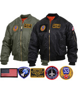 Mens Military Air Force Style MA-1 Flight Jacket with 5 Removable Patches - $52.99+