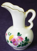 "Miniature Pitcher Hand Painted Vintage Porcelain Flowers Gilded Handle 2.5"" tall - $18.13"