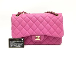 AUTHENTIC CHANEL PINK QUILTED CAVIAR JUMBO CLASSIC DOUBLE FLAP BAG GHW - $3,399.99