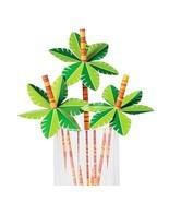 48 Palm Tree Paper Straws - Luau Party, Tiki Bar Supplies, Tropical Isla... - $9.68