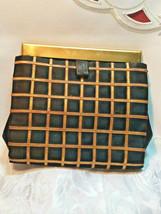 Vintage Black w/ Gold Square Design Evening Clutch Purse W/ Original Mirror image 1