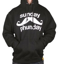 Team Phun Mens Sunday Fun Day Mustache Black White Pullover Hoodie Moustache NWT