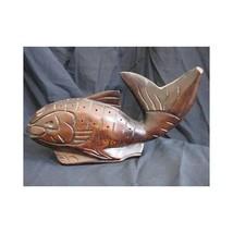 Carved Wood Fish Teak/Dark Stain Camp/Cabin Decor - $14.36