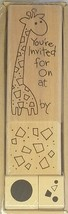 Stampendous Giraffe Invite Set Rubber Mounted on Wood Stamp Set #SWS036 - $11.99