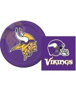 Minnesota Vikings  Luncheon Napkins & Plates Party Kit for 8 NFL Tailgate  - $10.84