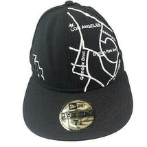 Los Angeles LA Dodgers New Era 59fifty Fitted Size 7 3/8 Hat 100% Wool Black Map - $34.64