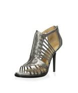 new lamb kamy high heel / sandal size 6 M medium gun metal leather - $130.00