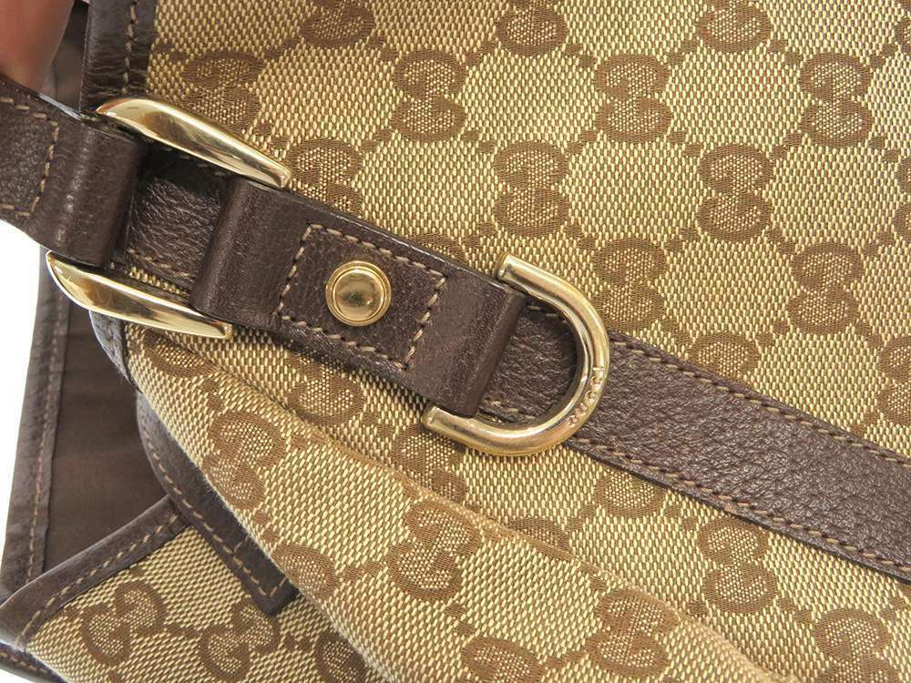 GUCCI Shoulder Bag GG Canvas Leather Beige Brown 130736 Italy Authentic 5473595