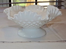 Fenton Milk Glass Hobnail Pattern Candy Dish Pedestal Scallop edge Vintage~ - $27.22