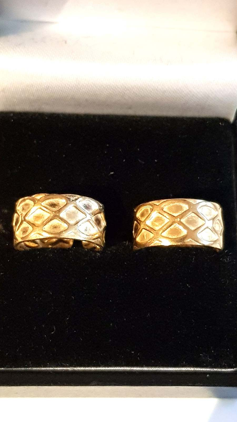 pair solid bronze  ear cuffs , diamond pattern ear clips can be worn anywhere