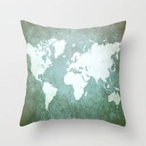 Throw Pillow Case Cushion Cover Made in USA Design 55 World Map Green L.Dumas - $29.99+