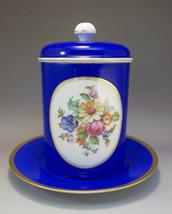 Rosenthal Tea Biscuit Cracker Jar Cobalt Blue Flowers Bavaria German - $26.73