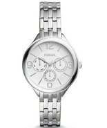 Fossil Ladies Silver Tone Chronograph Dial Stainless Steel 36mm Watch BQ... - $74.99