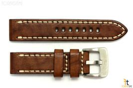 22mm Marrone in pelle Liscia Cinturino Orologio con / Cuciture per Luminox - $45.54