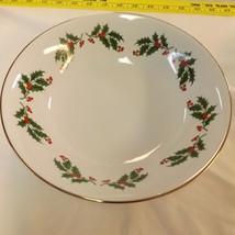 Holly Holiday Wishes Vegetable Serving Bowl Set of 2 Holly Design Porcelain - $24.99