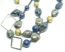 NECKLACE BLUE GRAY ROUNDED DROP, SPHERE, EXAGON MURANO GLASS SQUARE, 80cm LONG image 2