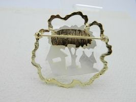 Vintage Gold Tone Mother of Pearl Tiki House Tree Scene Pin Brooch image 4