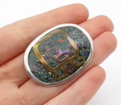 MEXICO 925 Silver - Vintage Crushed Jasper Three Tone Brooch Pin - BP5004 - $29.84