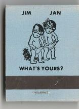 Vtg Strike on Matchbook  of Jim & Jan  What's Yours (baby blue) Restaura... - $11.87
